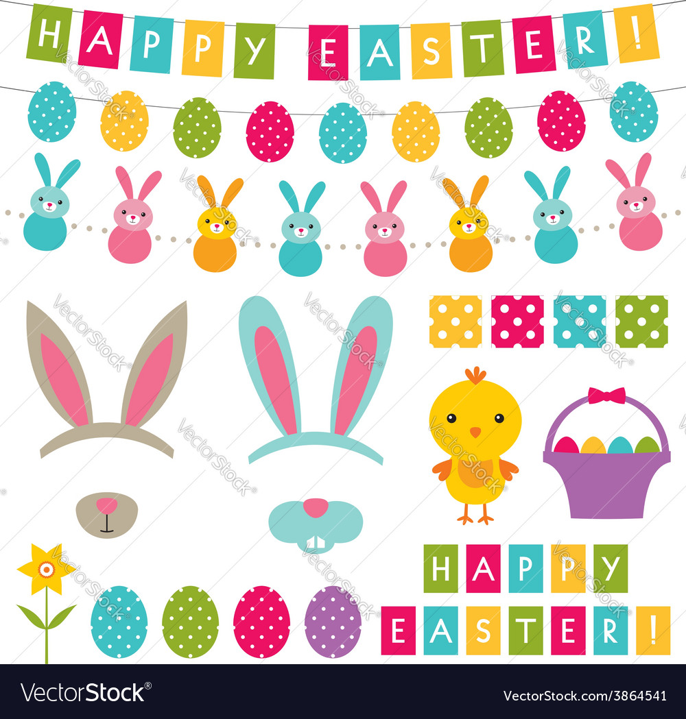 Easter decoration and photo booth props set vector | Price: 1 Credit (USD $1)