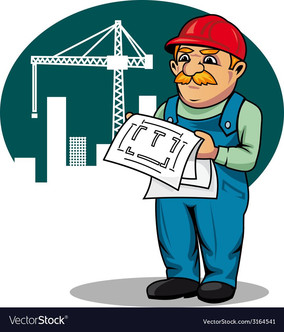 Engineer on construction site vector | Price: 1 Credit (USD $1)