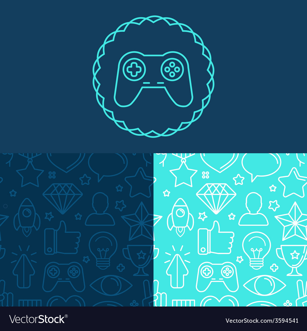 Game badge and seamless patterns vector | Price: 1 Credit (USD $1)