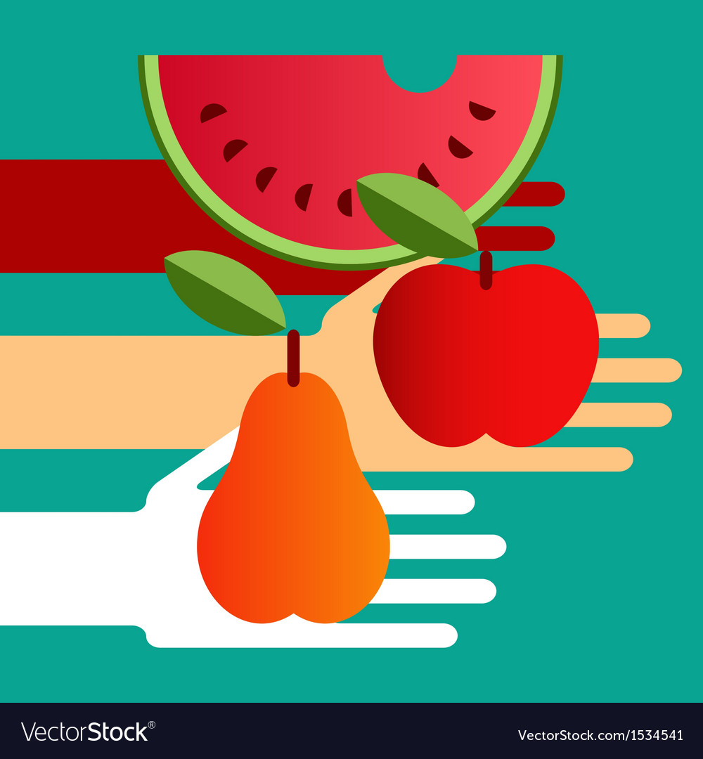 Hands with fruit vector | Price: 1 Credit (USD $1)