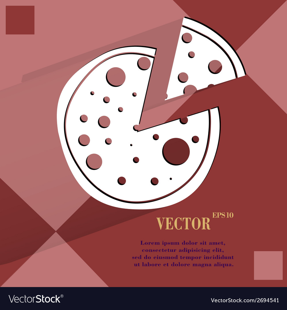 Pizza flat modern web button on a flat geometric vector | Price: 1 Credit (USD $1)