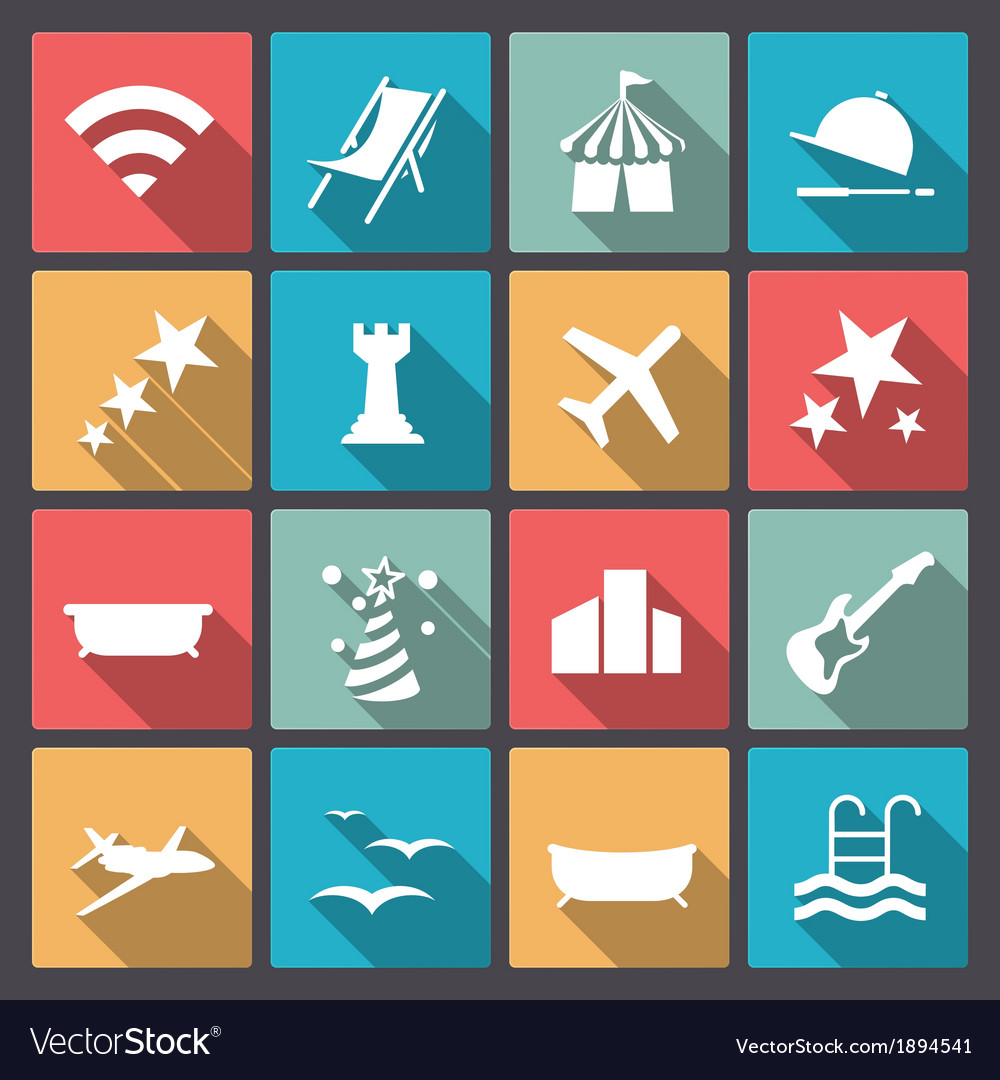 Rest and entertainment icons in flat design vector | Price: 1 Credit (USD $1)