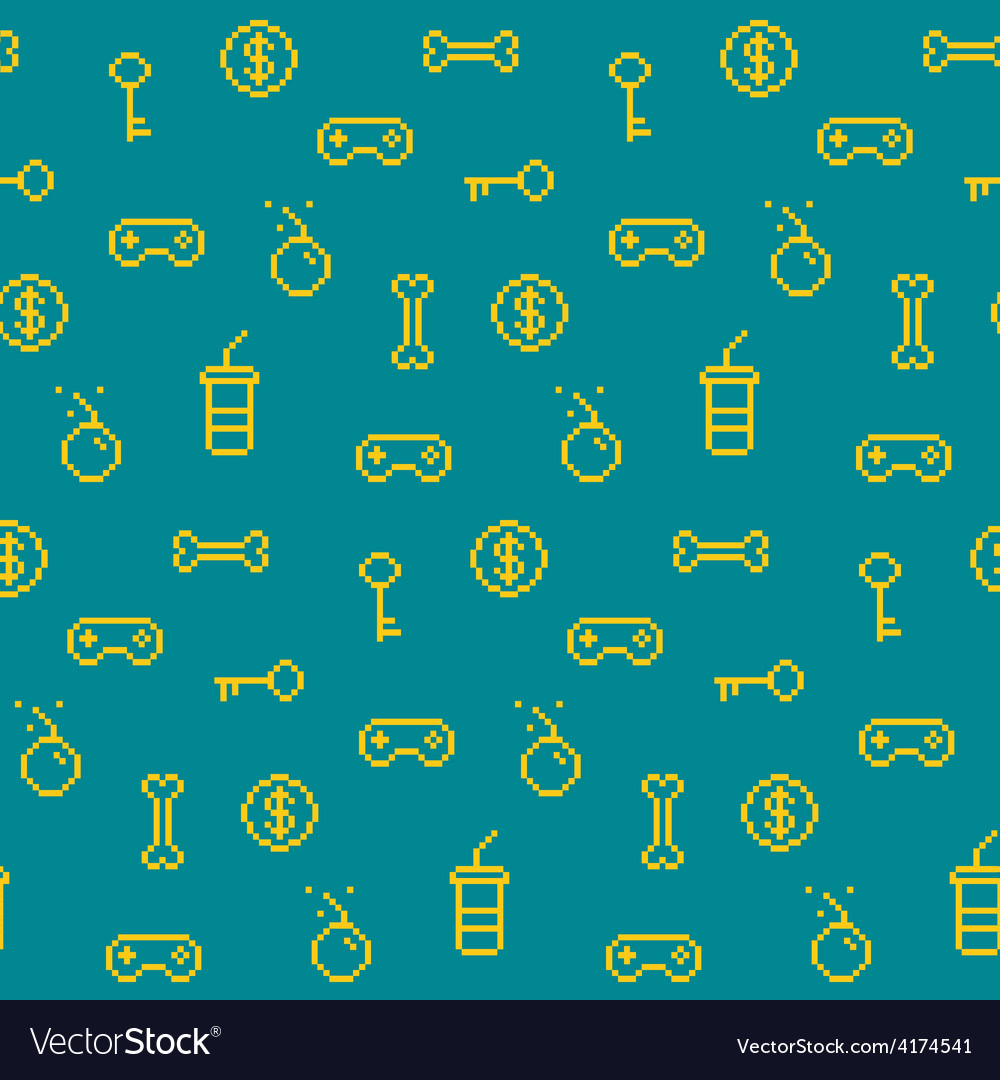 Seamless oldschool gaming inspired pattern game ic vector | Price: 1 Credit (USD $1)