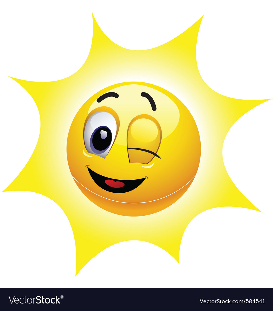 Smiley sun character vector | Price: 1 Credit (USD $1)