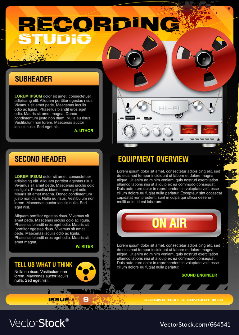 Sound recording studio brochure flyer detailed vector | Price: 5 Credit (USD $5)