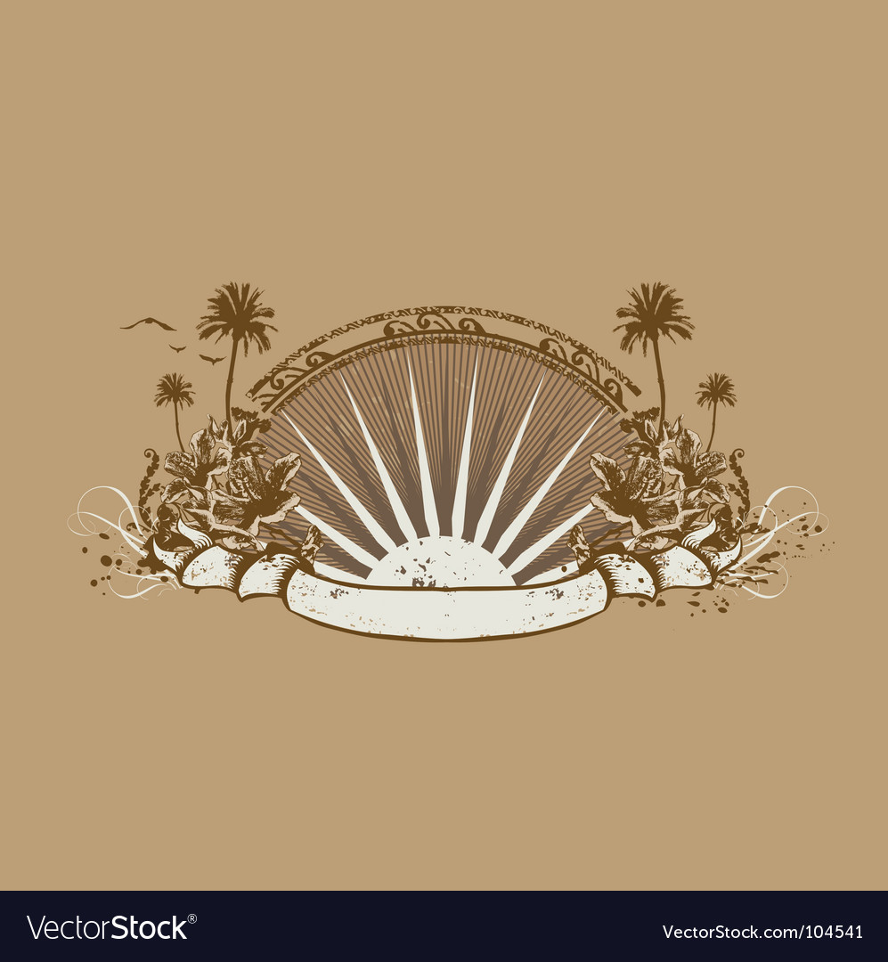 Tropical ocean coast vector | Price: 1 Credit (USD $1)