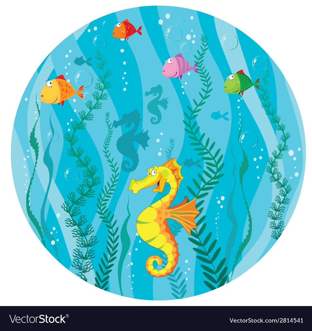 Underwater world in circle vector | Price: 3 Credit (USD $3)