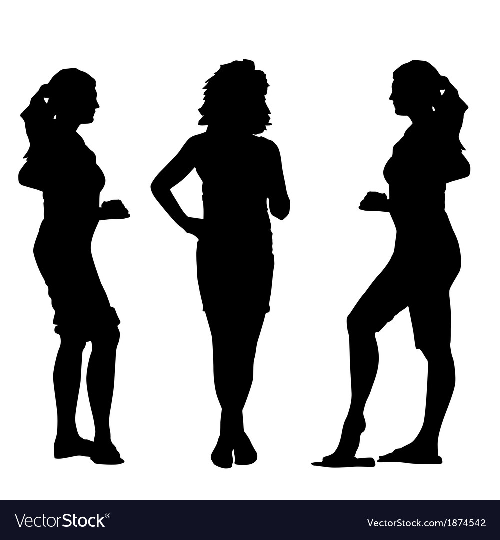 Black silhouettes of beautiful womans on white vector | Price: 1 Credit (USD $1)