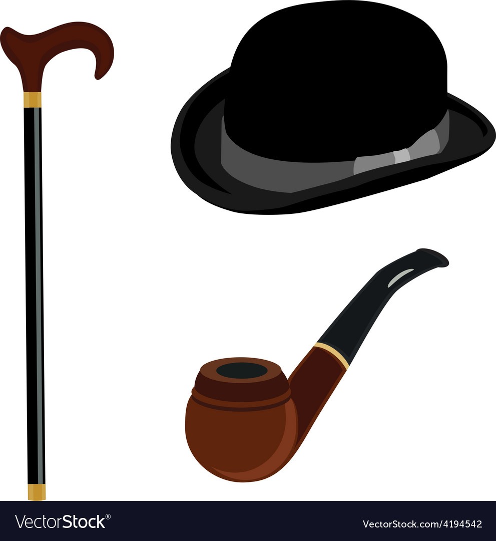 Bowler hat smoking pipe and walking stick vector | Price: 1 Credit (USD $1)