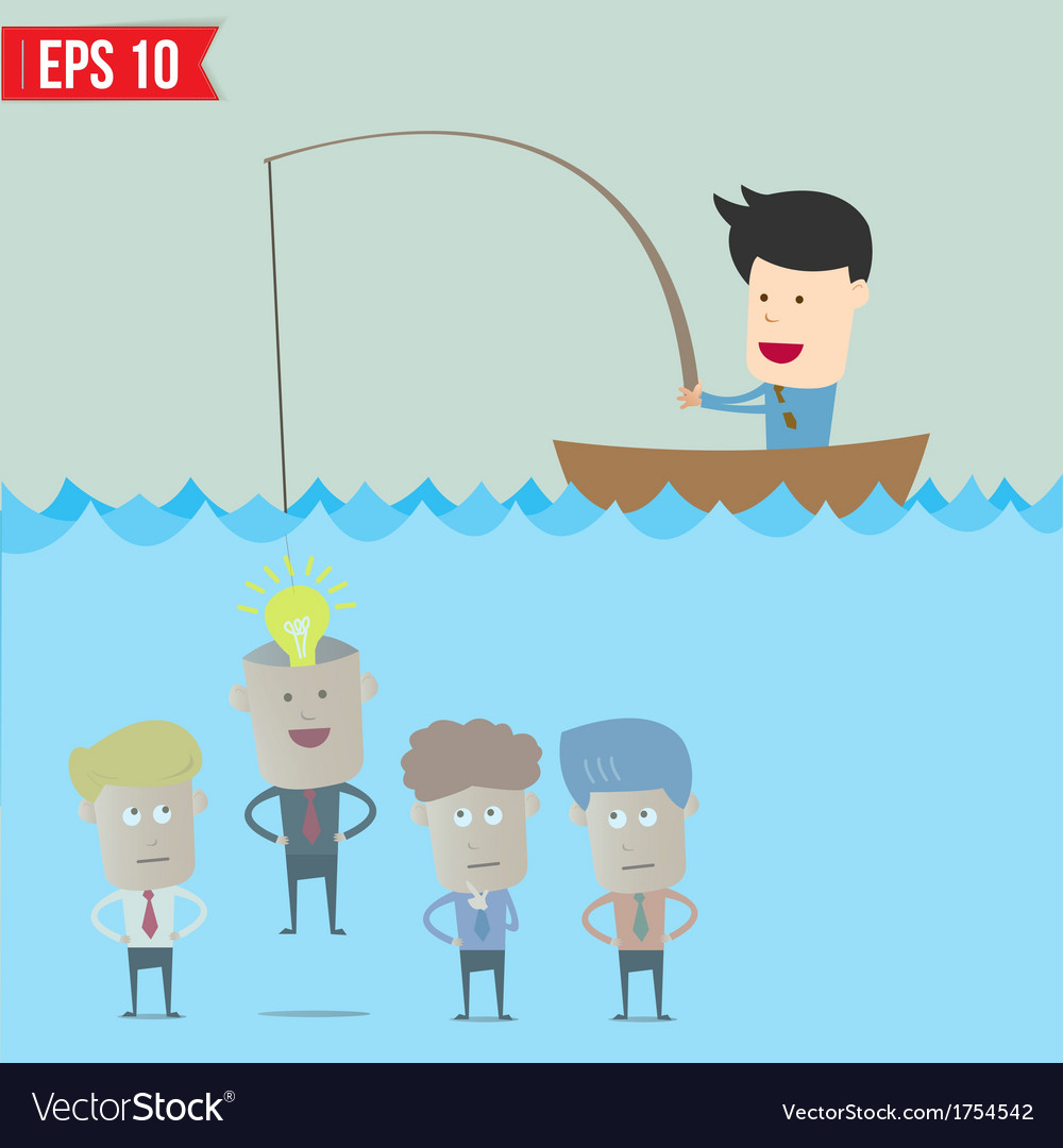 Cartoon businessman catching idea in the sea - vector | Price: 1 Credit (USD $1)