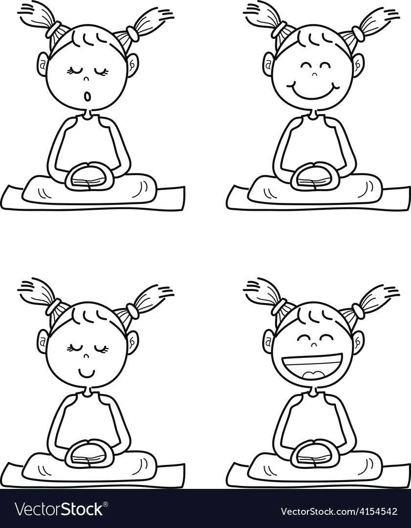 Cartoon happy kids meditation vector | Price: 1 Credit (USD $1)