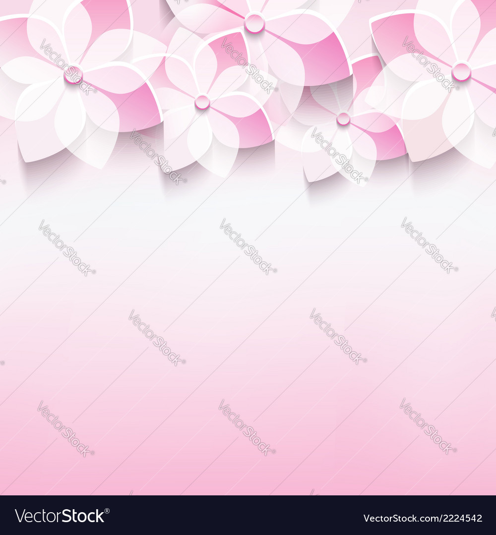 Greeting card with japanese cherry 3d sakura vector | Price: 1 Credit (USD $1)