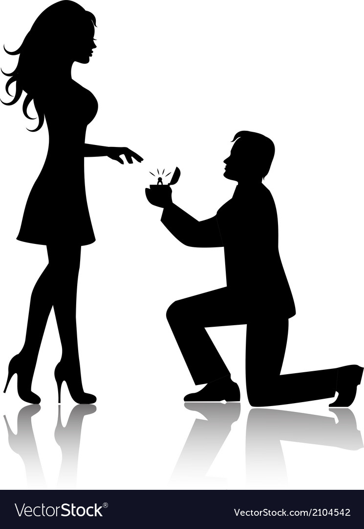 Man proposes to the woman to marry him vector | Price: 1 Credit (USD $1)