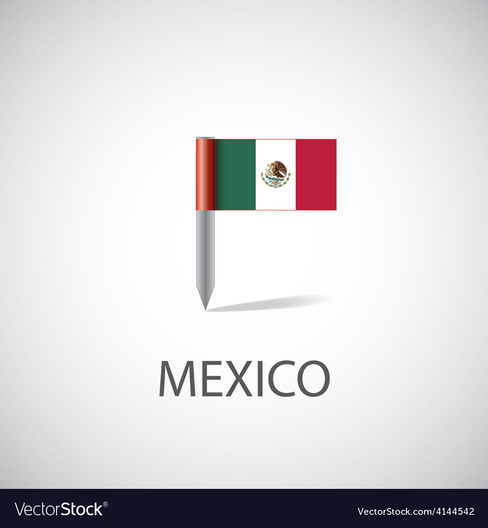 Mexico flag pin vector | Price: 1 Credit (USD $1)