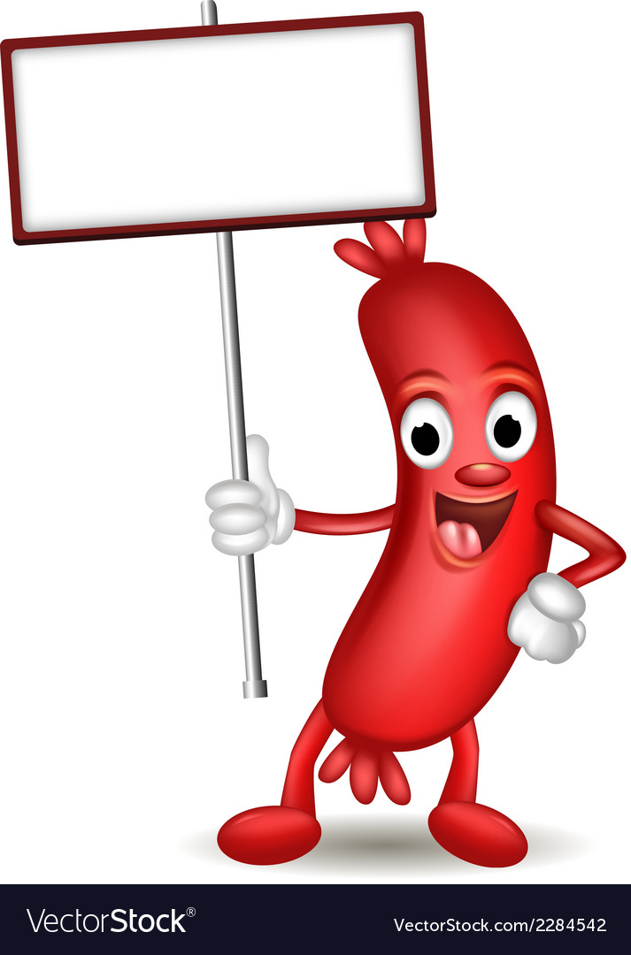 Sausage cartoon holding blank sign vector | Price: 1 Credit (USD $1)