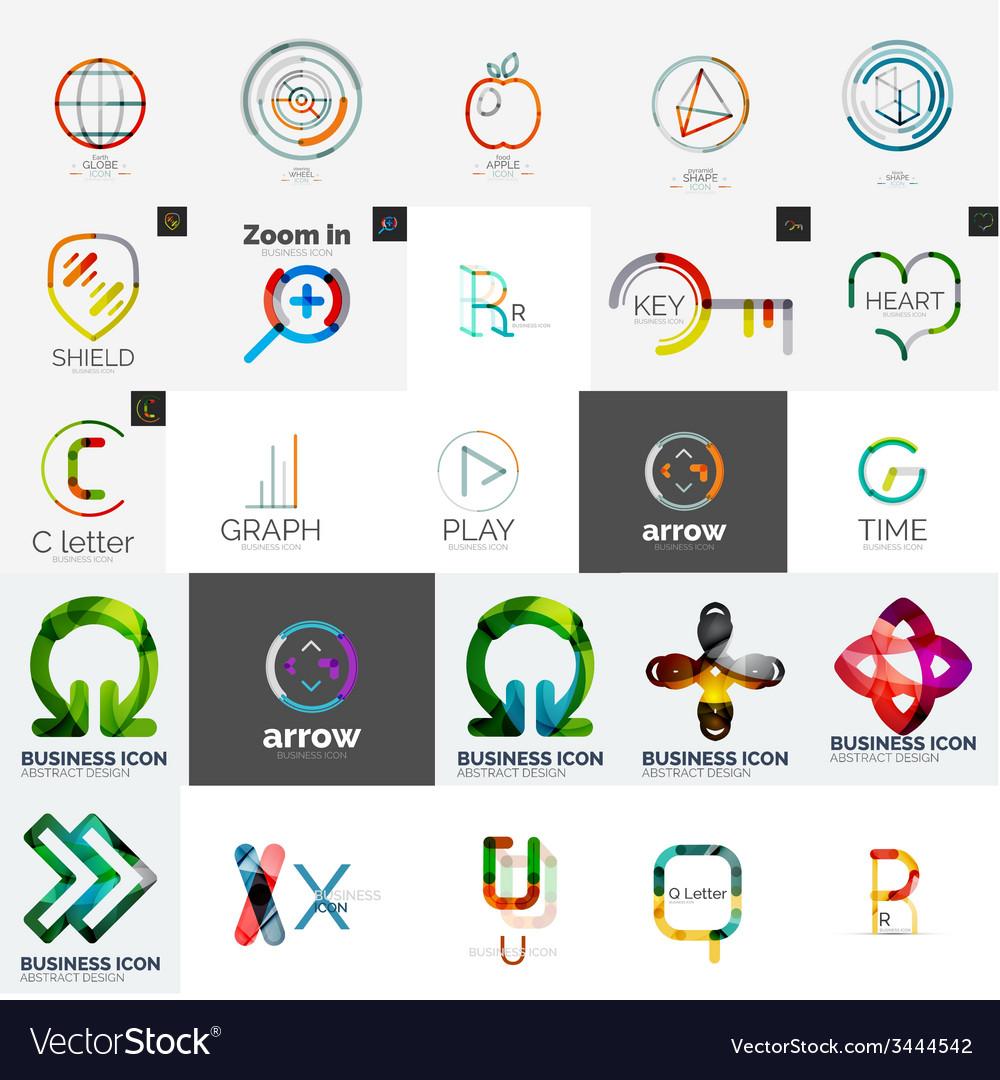 Set of branding company logo elements vector | Price: 1 Credit (USD $1)