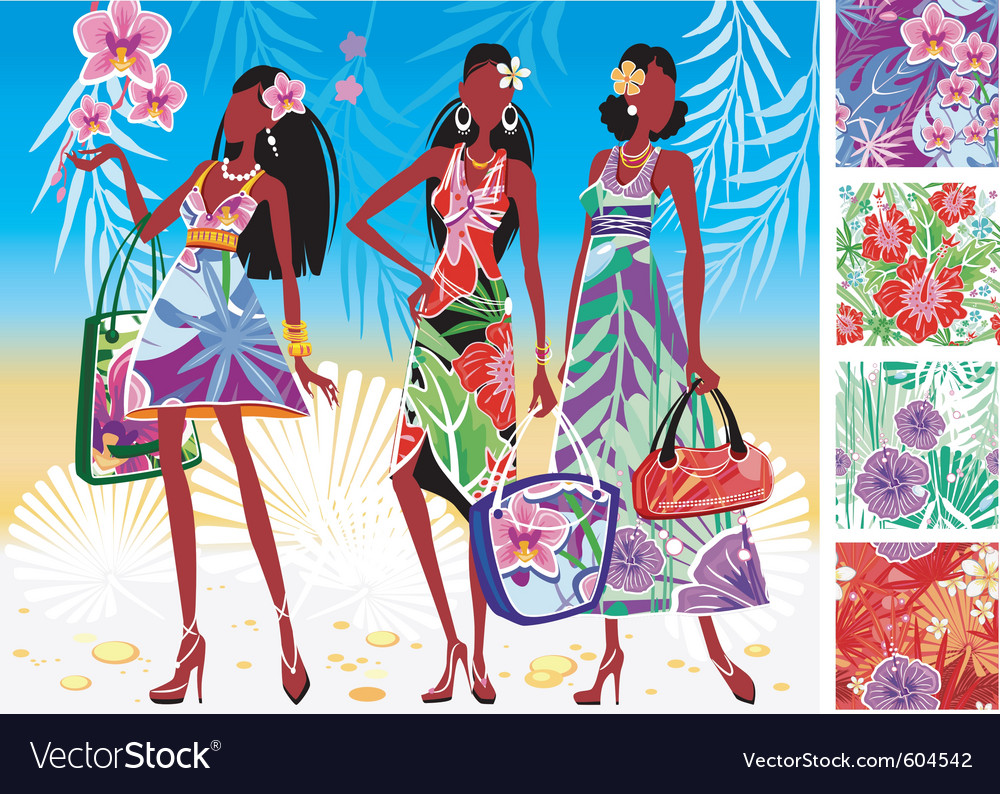 Women in summer dresses vector | Price: 3 Credit (USD $3)