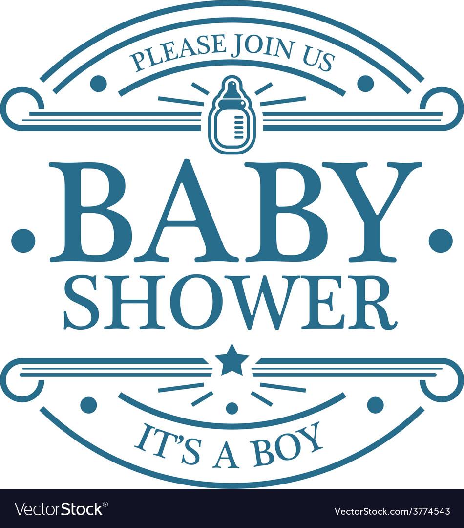Baby shower boy emblem vector | Price: 1 Credit (USD $1)