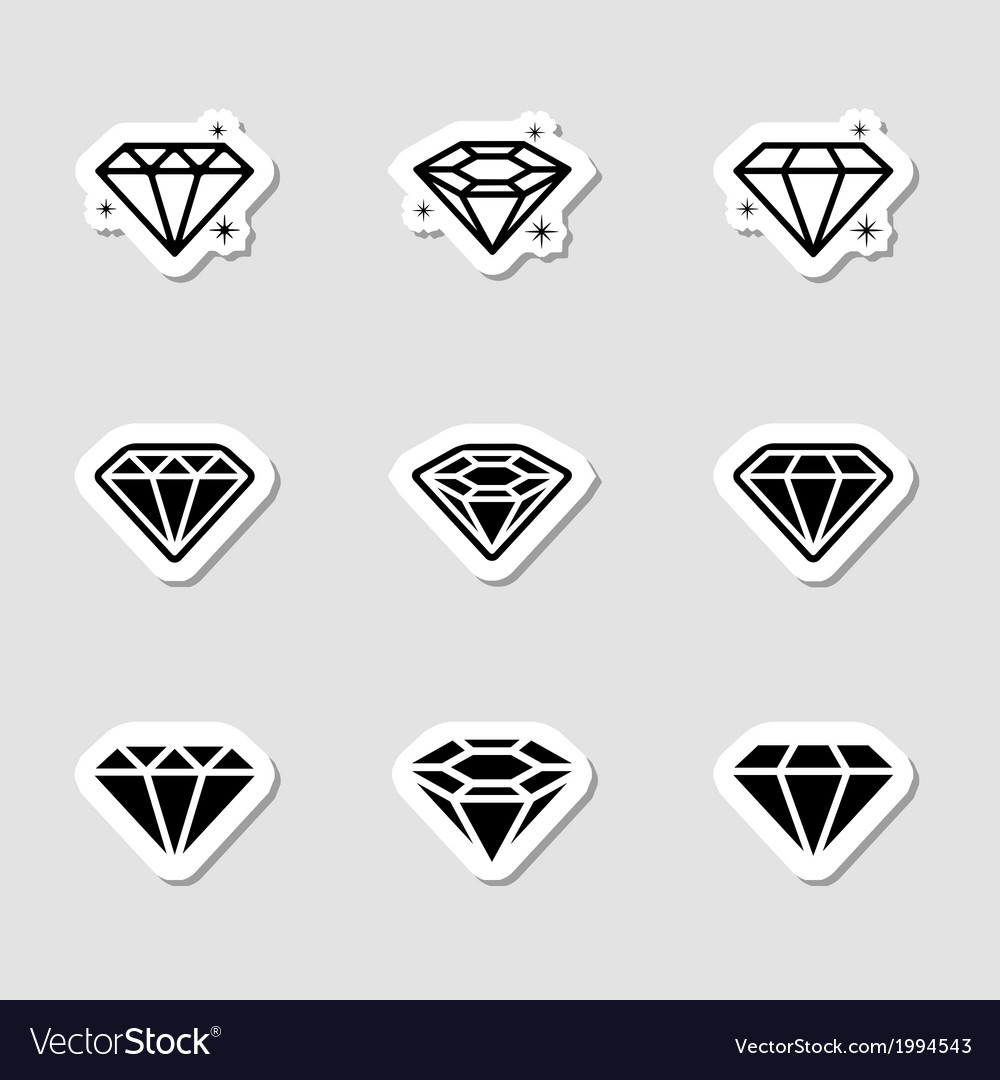 Diamond icons set as labes vector | Price: 1 Credit (USD $1)