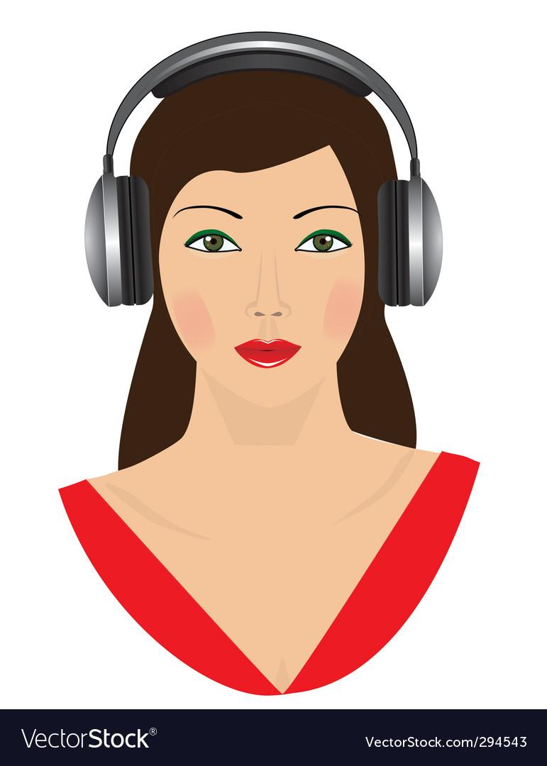 Girl in headphones vector   Price: 1 Credit (USD $1)