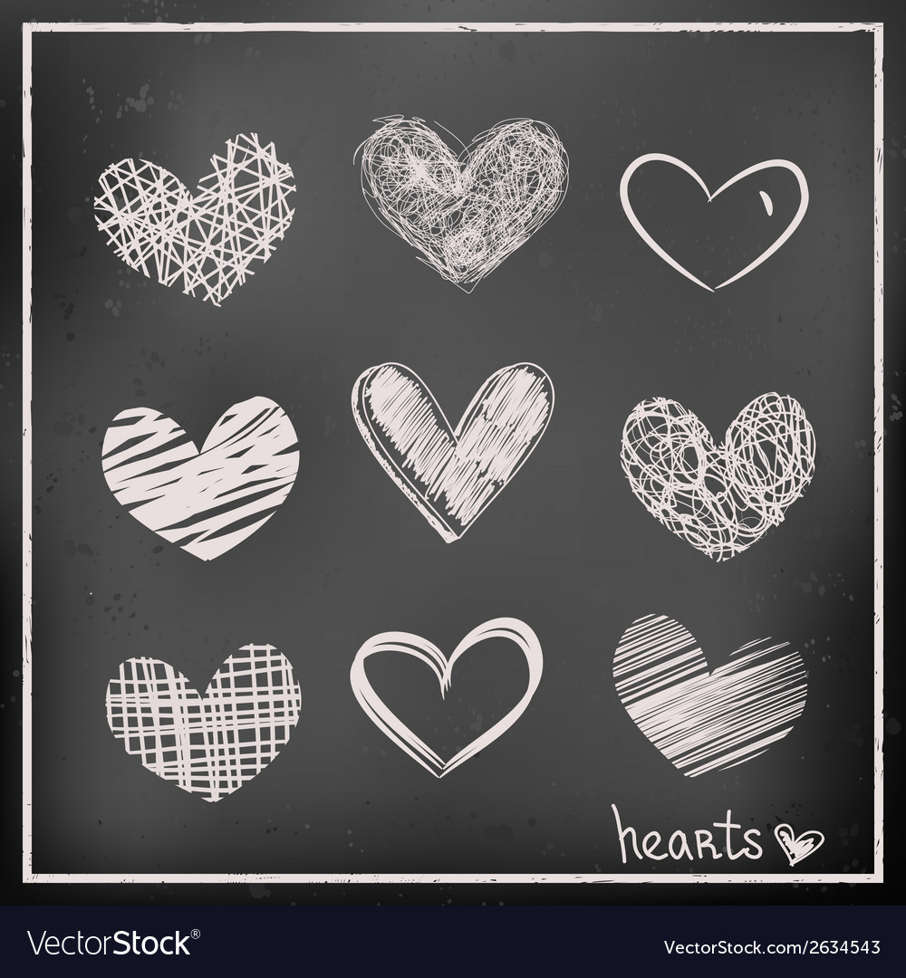 Hand drawn hearts on chalkboard vector | Price: 1 Credit (USD $1)