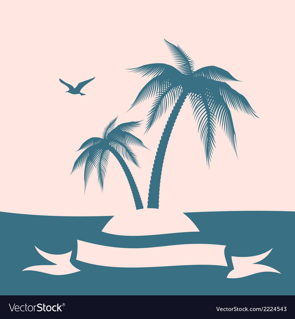 Palm island silhouette vector | Price: 1 Credit (USD $1)