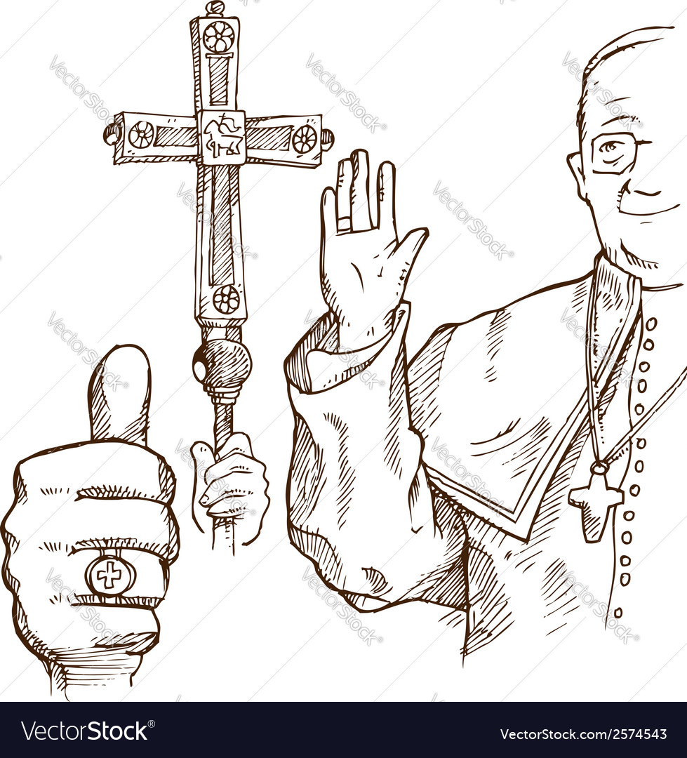 Pope hand draw element vector | Price: 1 Credit (USD $1)