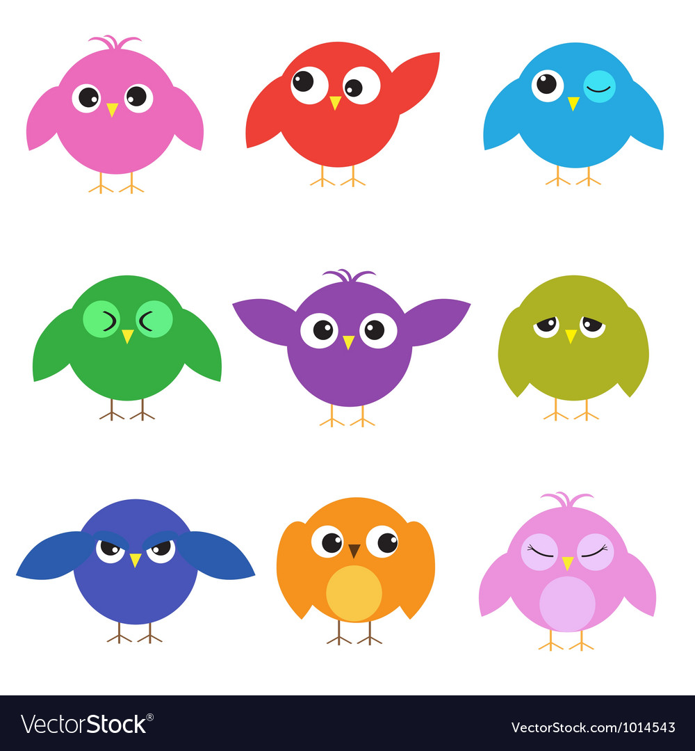 Set of cute birds with different emotions vector | Price: 1 Credit (USD $1)