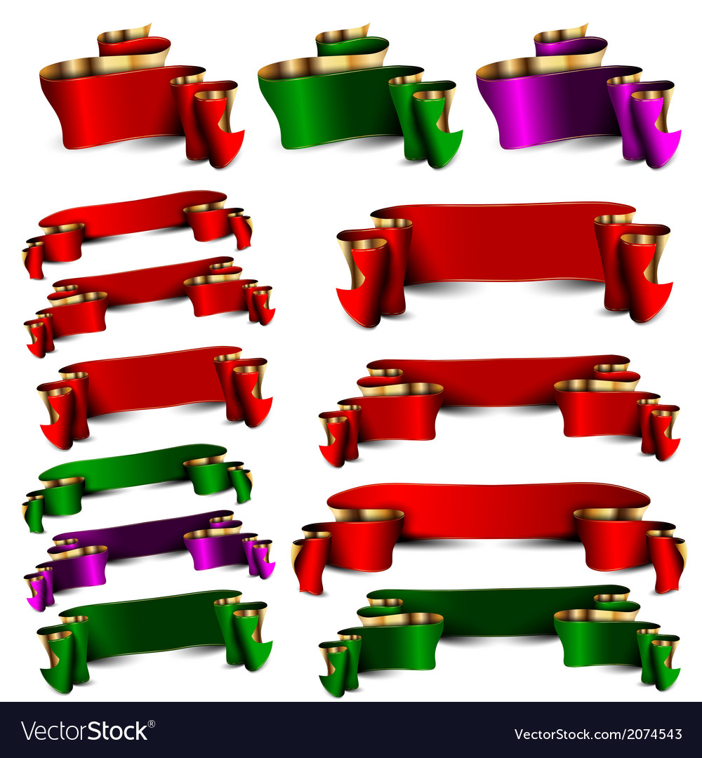 Set of empty royal color ribbons vector | Price: 1 Credit (USD $1)