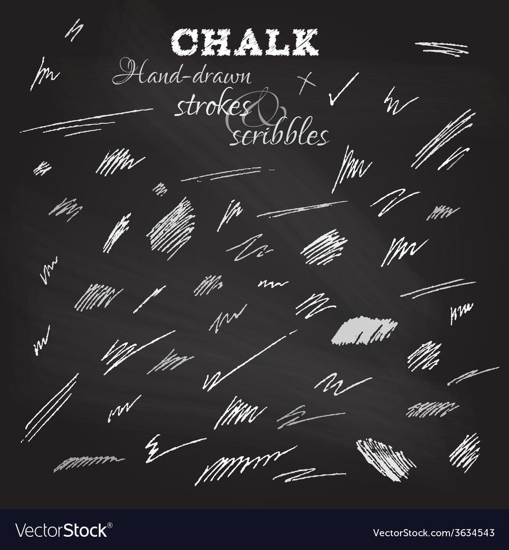 Set of hand-drawn chalk strokes and scribbles vector | Price: 1 Credit (USD $1)