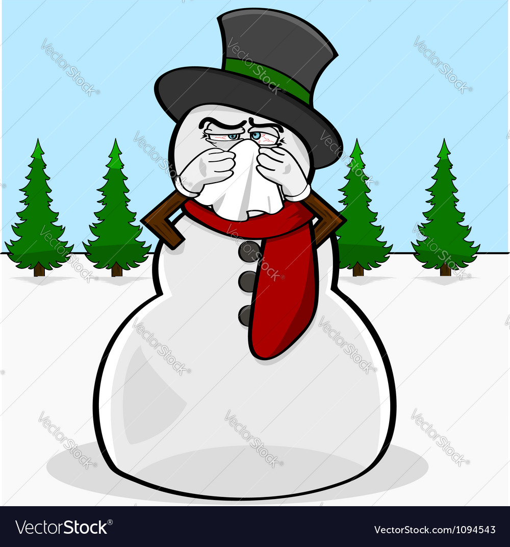Snowman with a cold vector | Price: 1 Credit (USD $1)