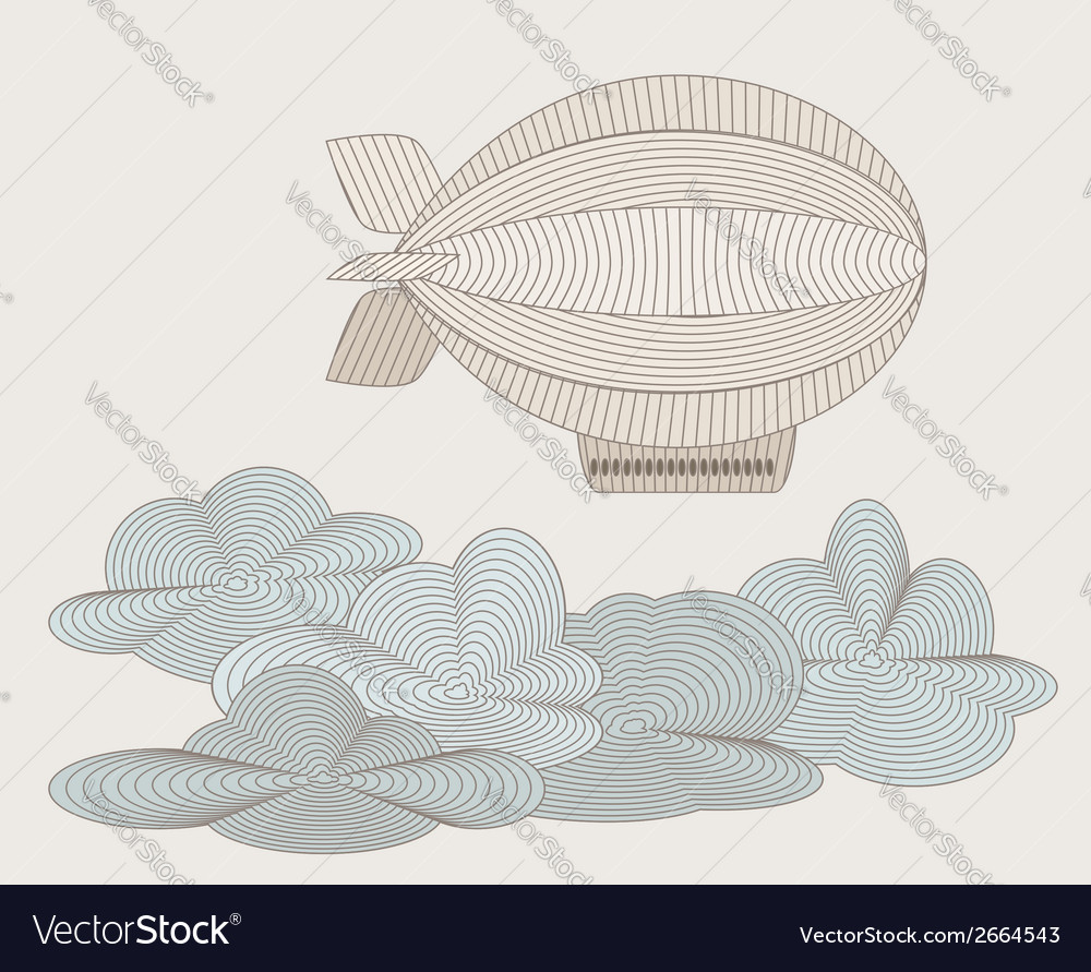 Zeppelin in clouds vector | Price: 1 Credit (USD $1)
