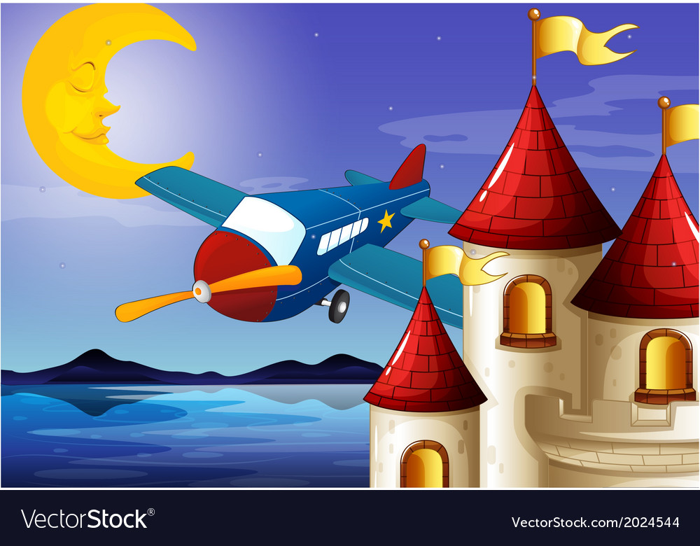 A sleeping moon an airplane and a castle vector | Price: 3 Credit (USD $3)