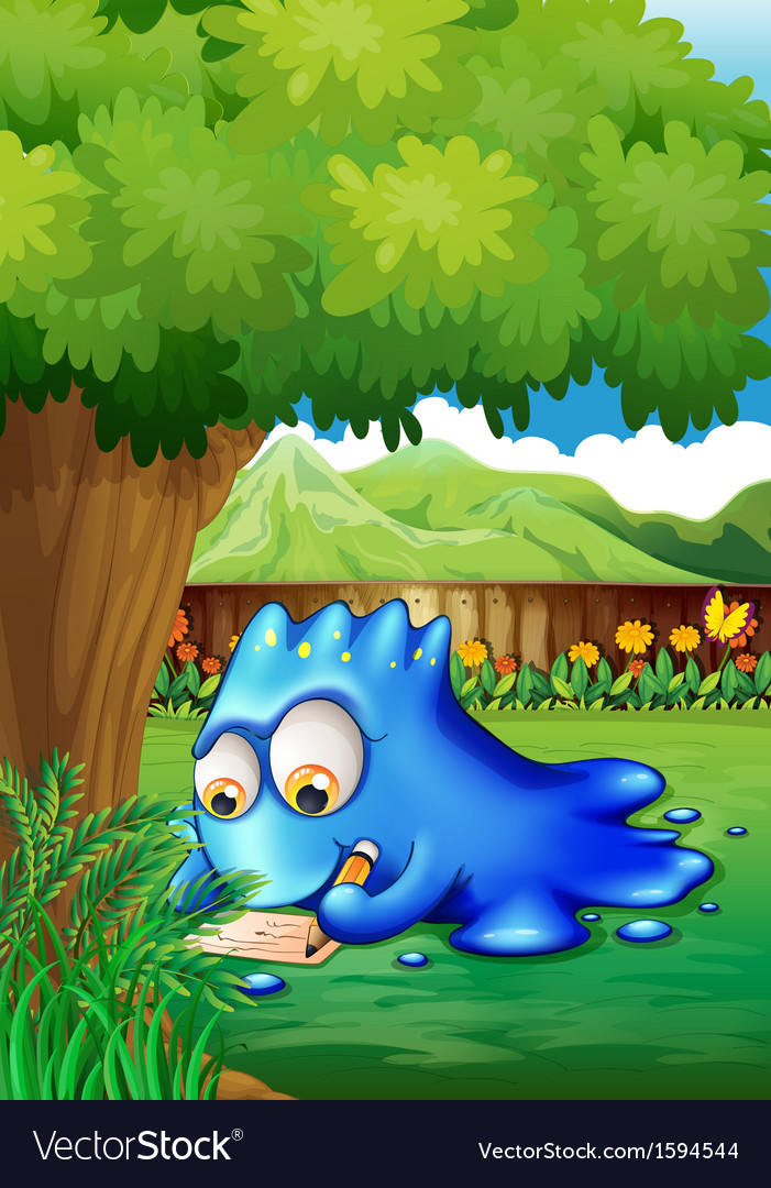 A yard with a blue monster writing vector   Price: 1 Credit (USD $1)