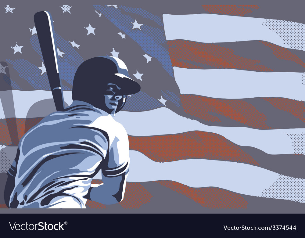 Baseball flag usa color vector | Price: 3 Credit (USD $3)