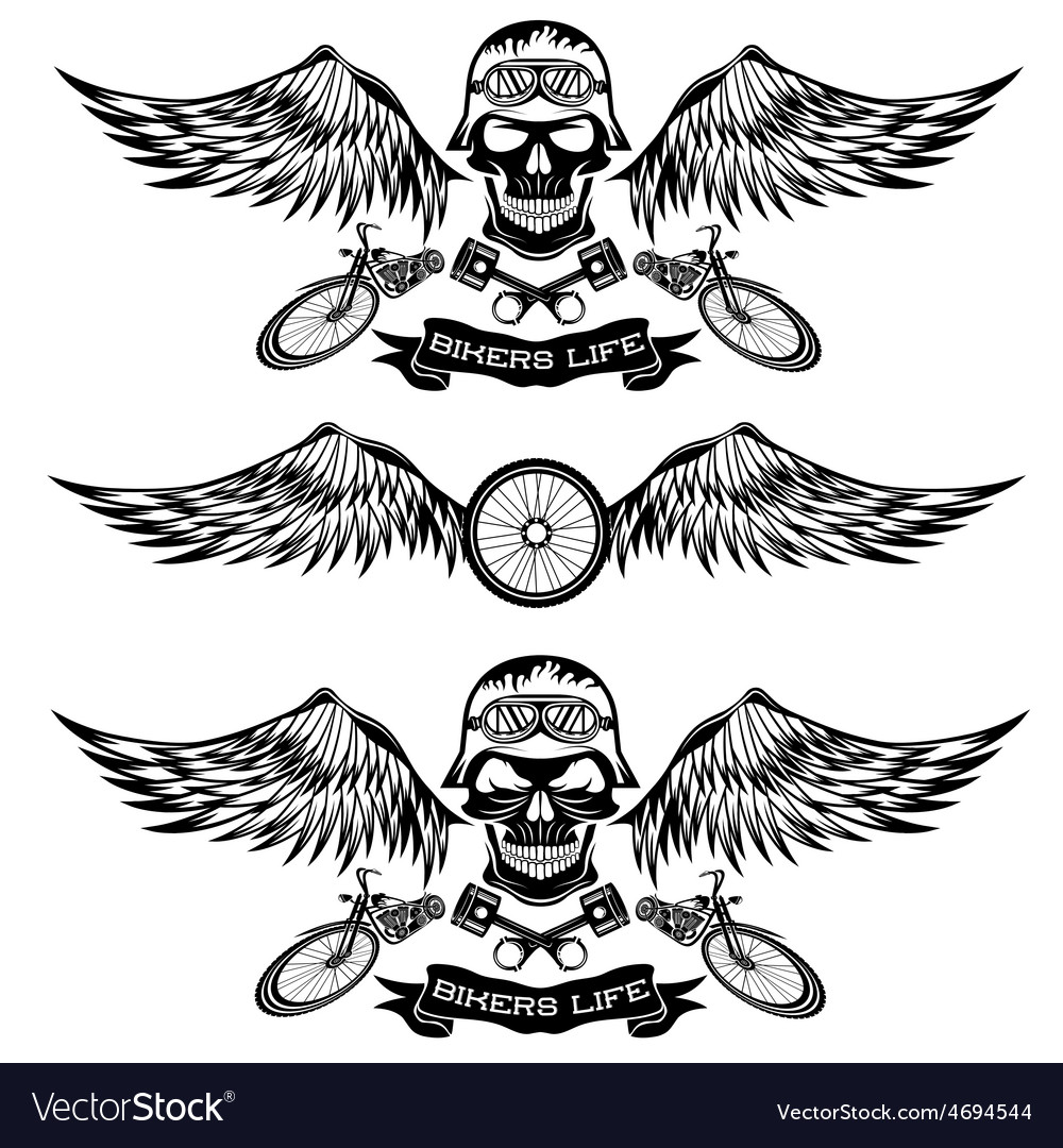 Biker theme labels with wheelbike and skulls with vector | Price: 1 Credit (USD $1)