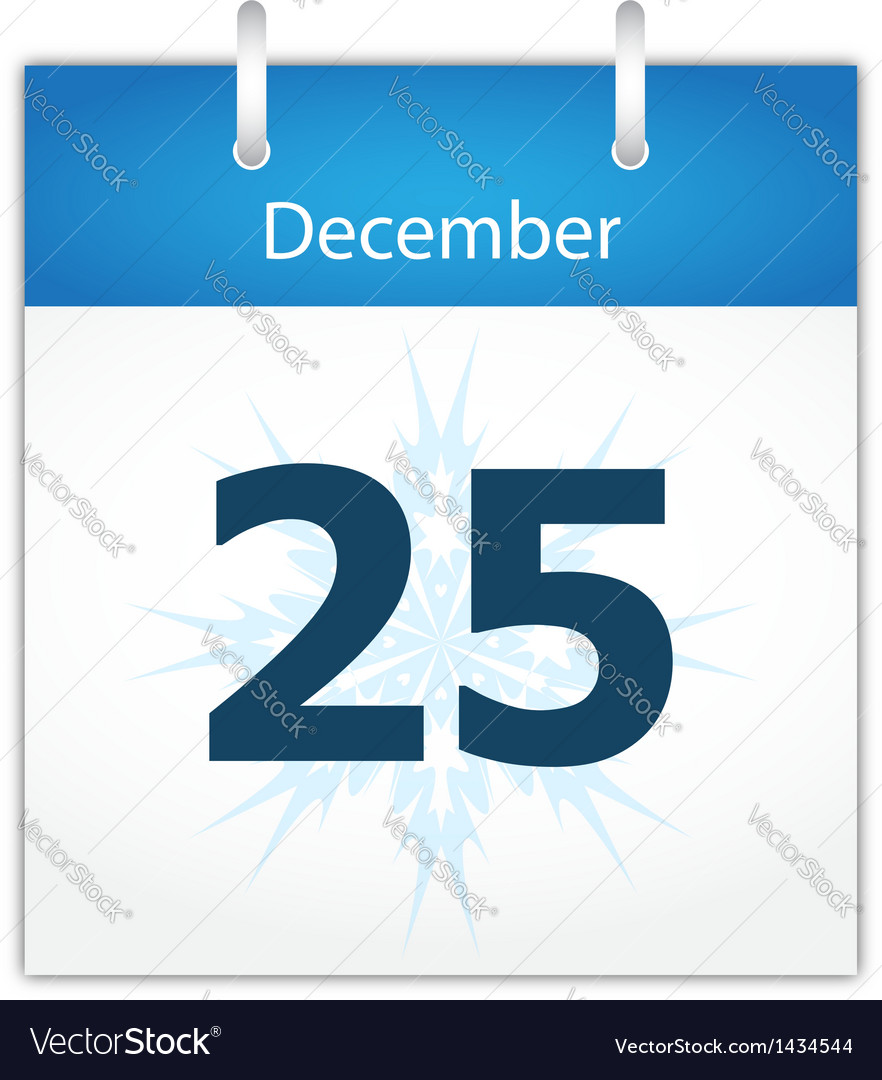 Calendar page for december 25 vector | Price: 1 Credit (USD $1)