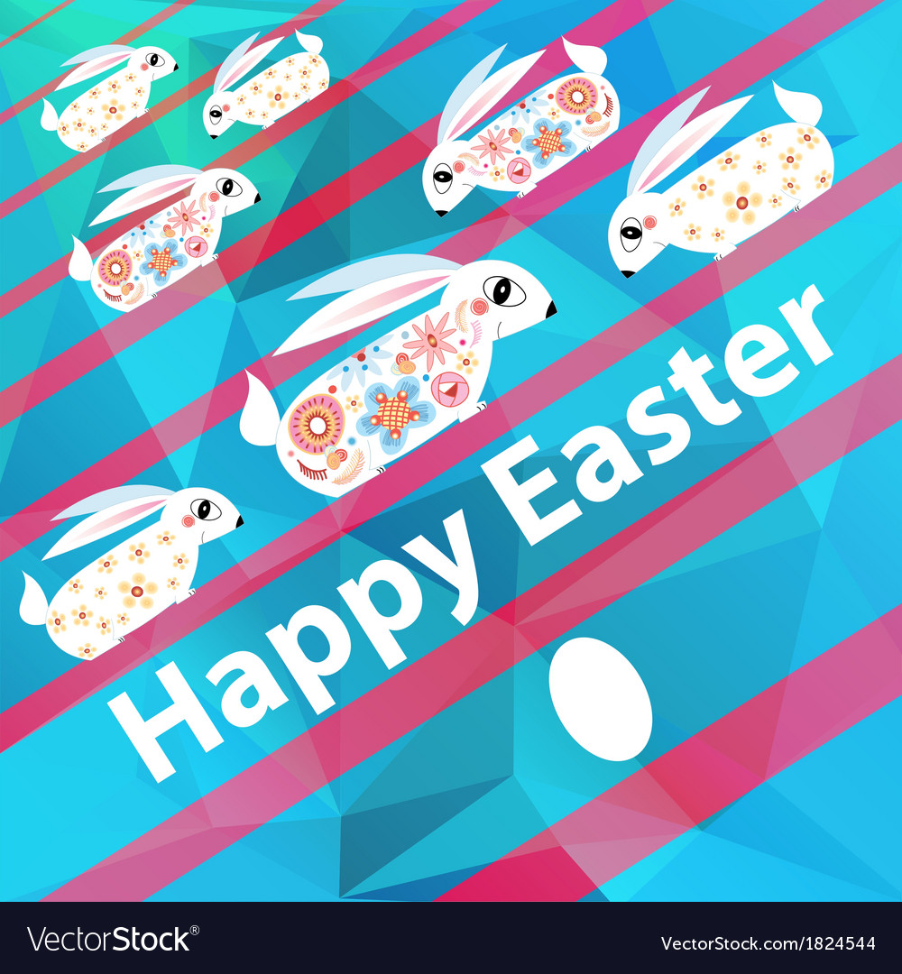 Easter card with rabbits vector | Price: 1 Credit (USD $1)