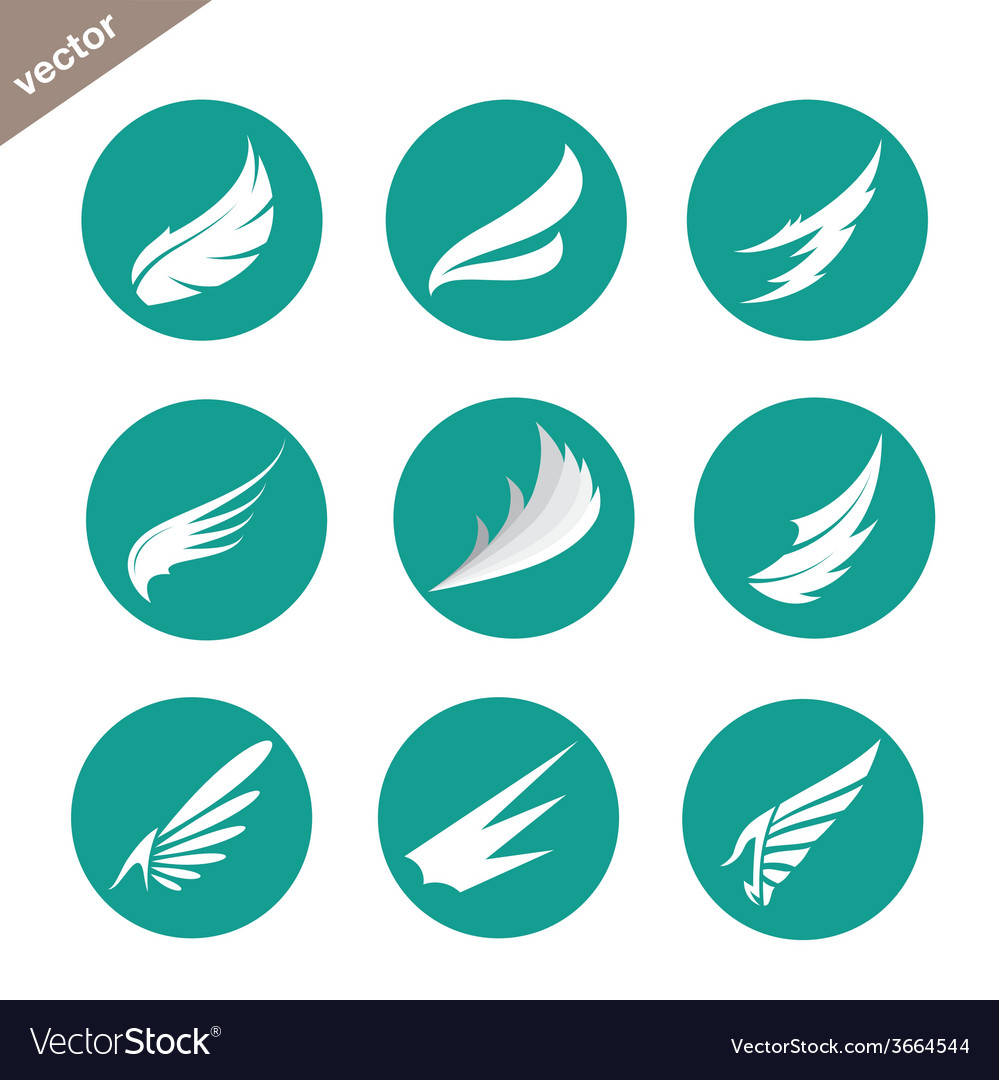 Group of wings in the circle vector | Price: 1 Credit (USD $1)