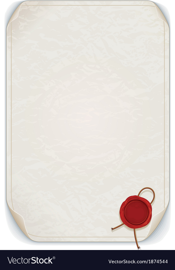 Manuscript scroll with wax seal isolated vector | Price: 1 Credit (USD $1)