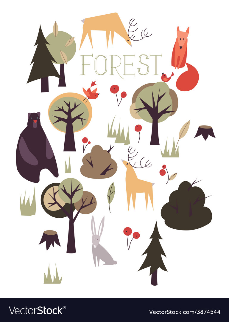 Set of animals and trees vector   Price: 1 Credit (USD $1)