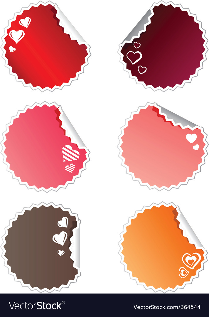 Set of stickers with hearts vector | Price: 1 Credit (USD $1)