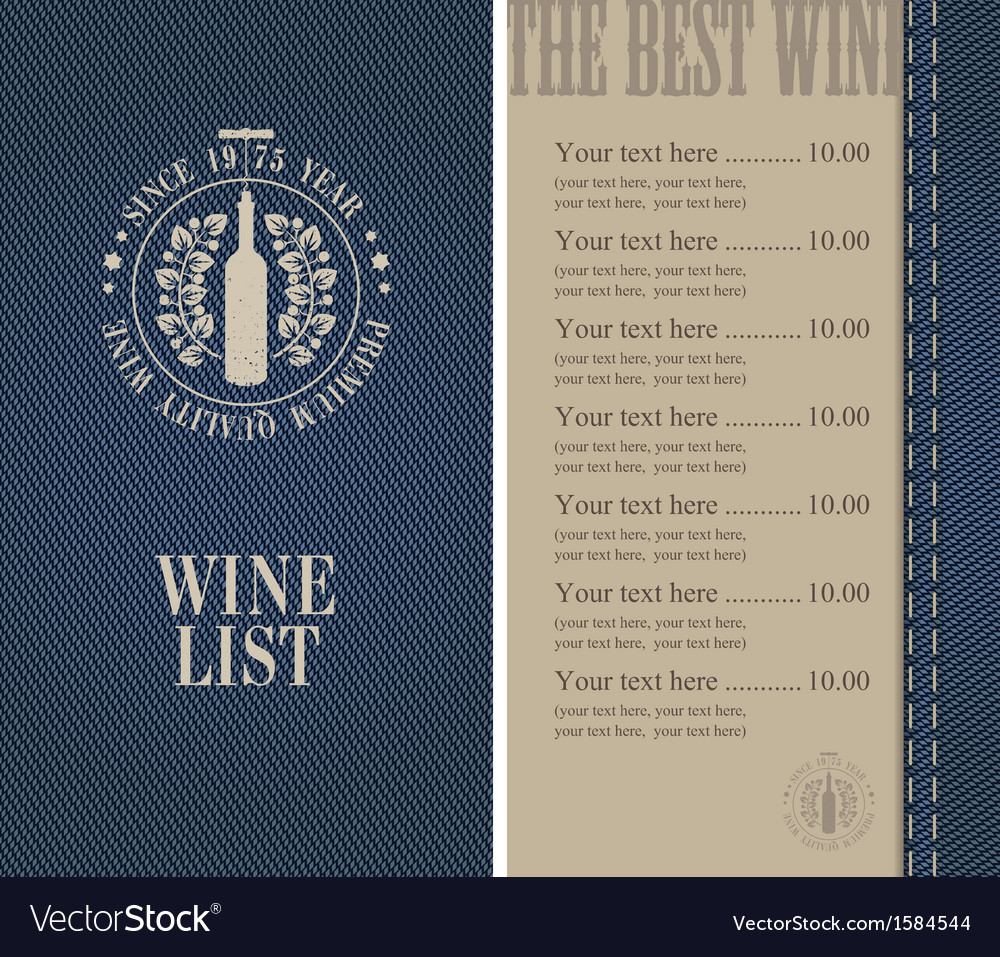 Wine menu vector   Price: 1 Credit (USD $1)