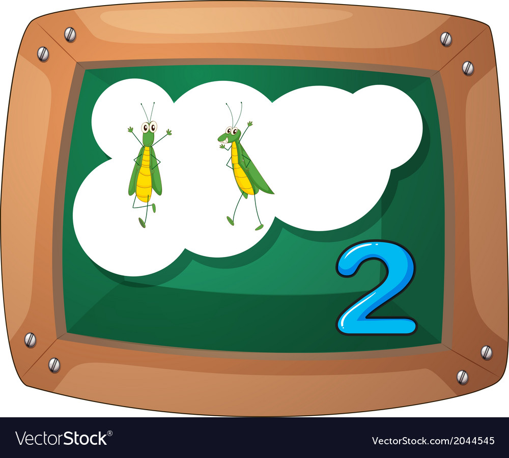 A blackboard with two grasshoppers vector | Price: 1 Credit (USD $1)