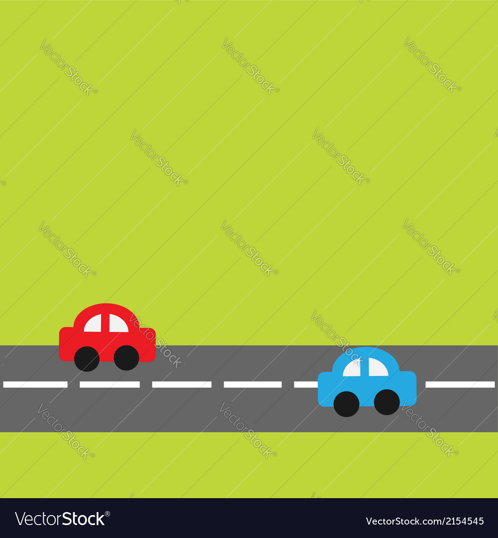 Background with horizontal road and cartoon cars vector | Price: 1 Credit (USD $1)