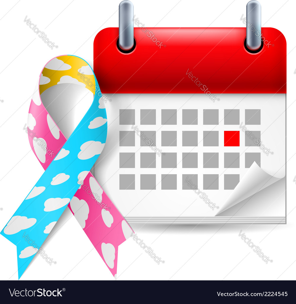 Cloud awareness ribbon and calendar vector | Price: 1 Credit (USD $1)