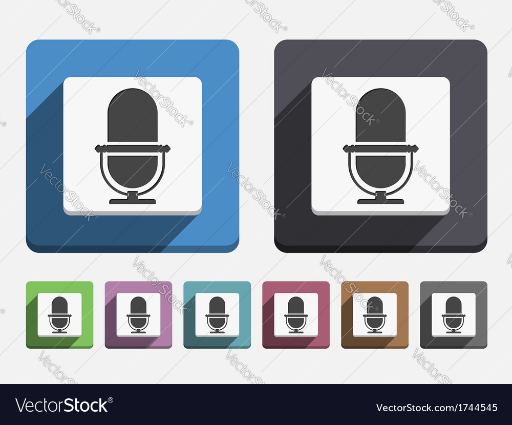 Flat microphone icon vector | Price: 1 Credit (USD $1)