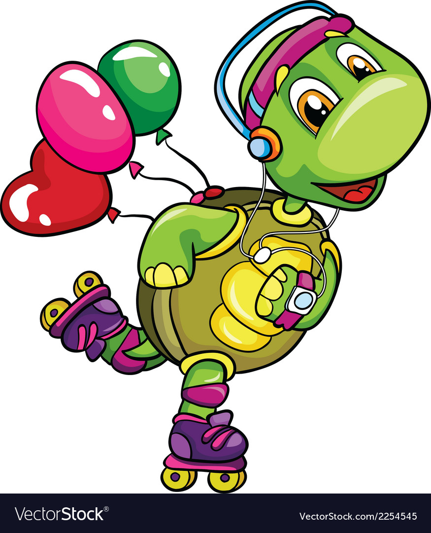 Funny turtle on roller skates on a white vector | Price: 1 Credit (USD $1)