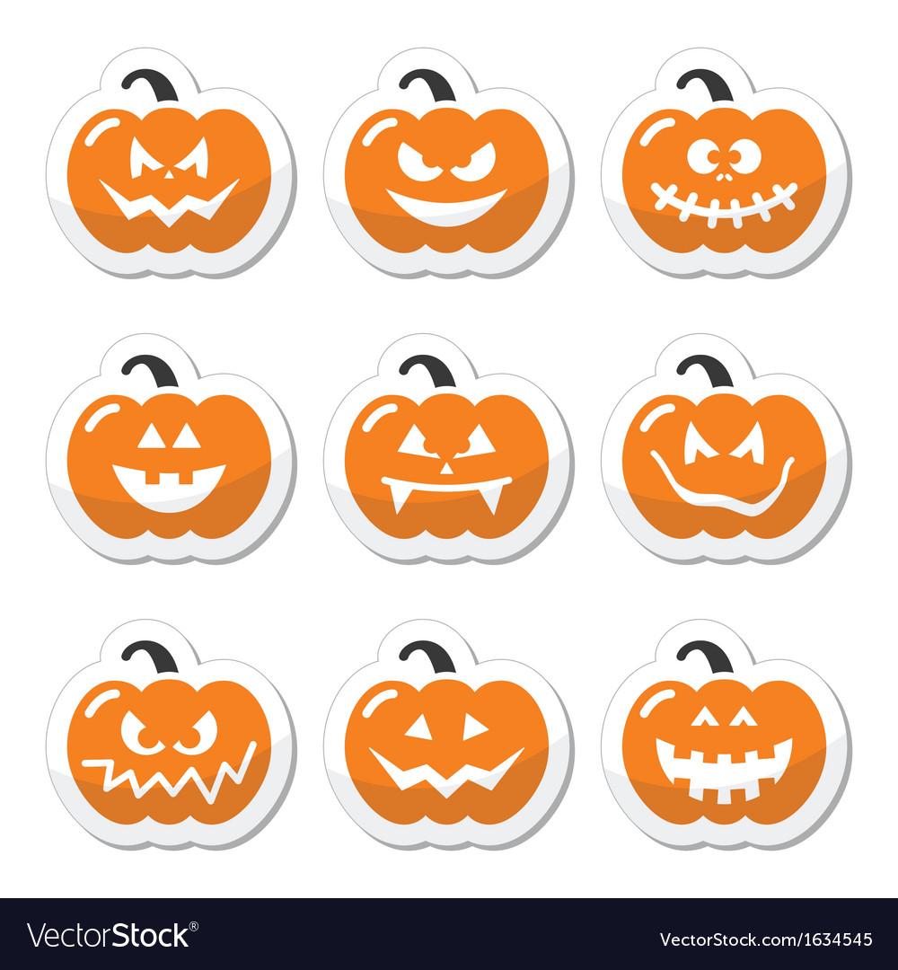 Halloween pumkin orange icons set vector | Price: 1 Credit (USD $1)