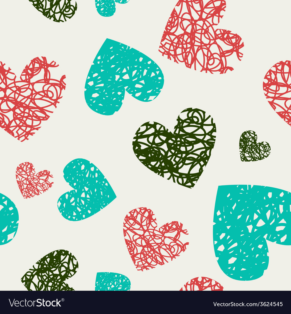 Hearts pattern hand-drawn doodle vector | Price: 1 Credit (USD $1)